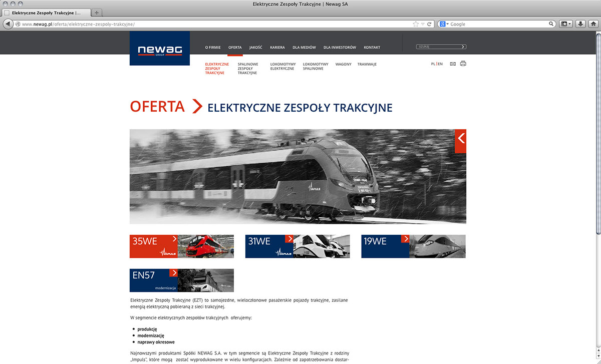 Web www www design trains train Newag Newag S.A. industry Website rail industry haevy engineering product presentation contact map navy blue red