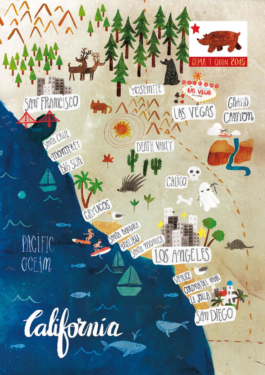 map mapa California illustrated map Mapa Ilustrado golden state
