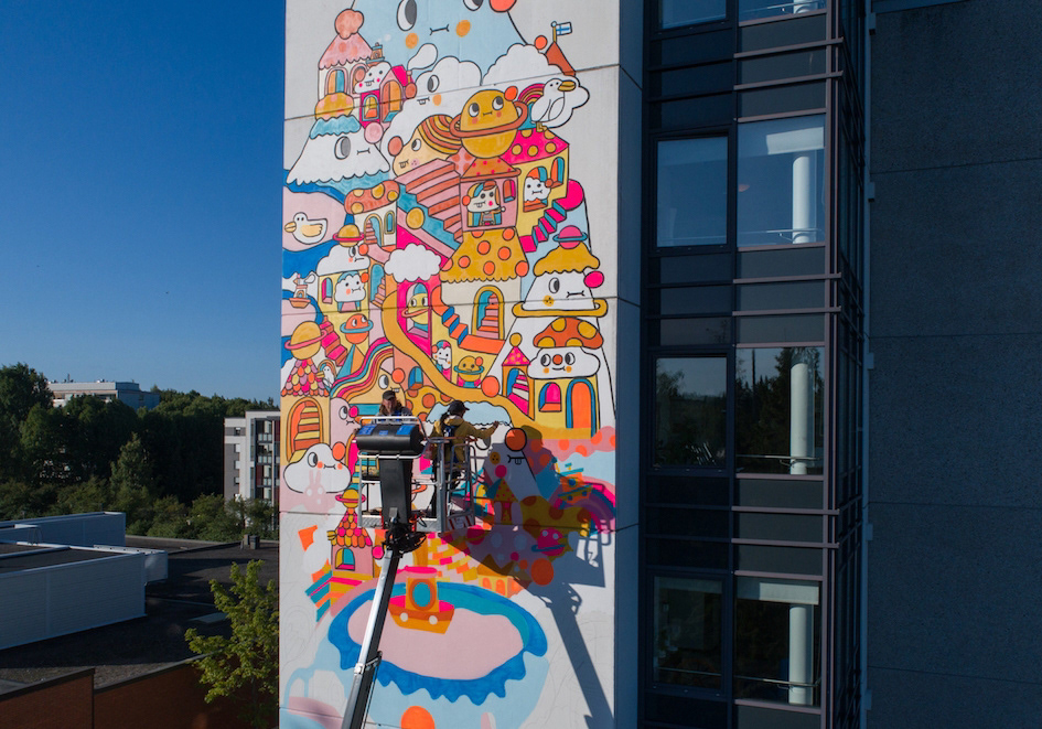 UPEA Mural lahti wallpainting streetart ILLUSTRATION  Illustrator Drawing  Colourful  doodle