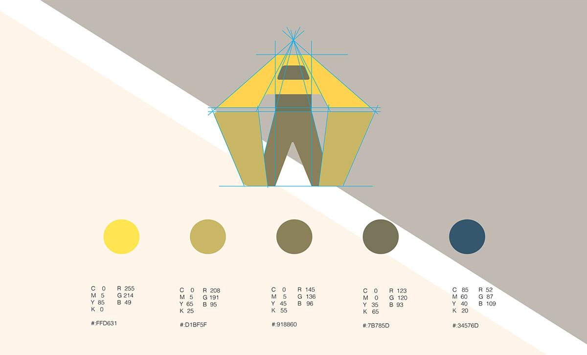 wes anderson brand identity monogram logo inspire idea color concept Project