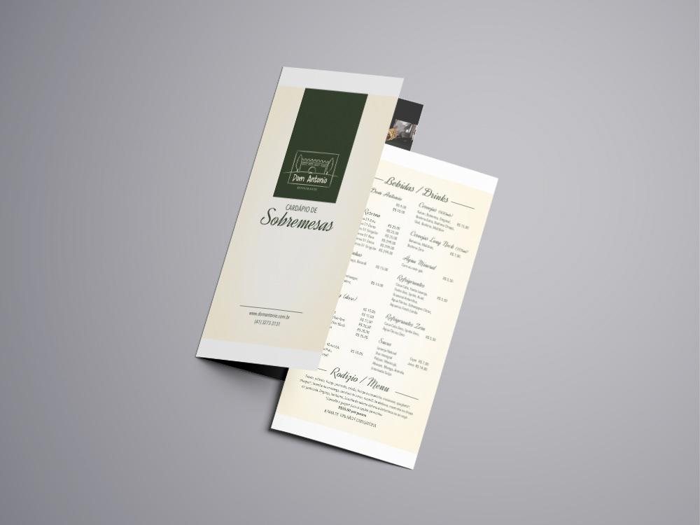Menu Restaurante Dom Antonio On Behance