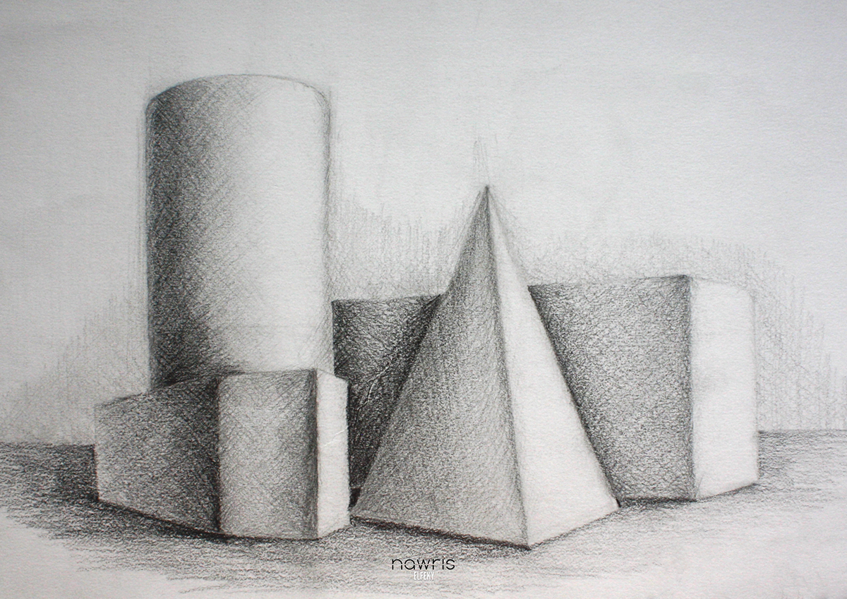 Still life drawings pencil college on student show