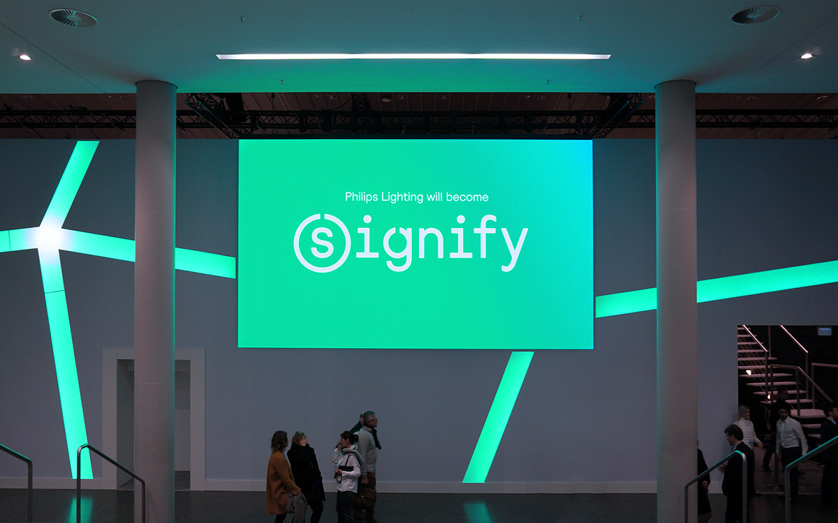 signify Philips light interact luminaire lighting Signage Event branding  Connecting