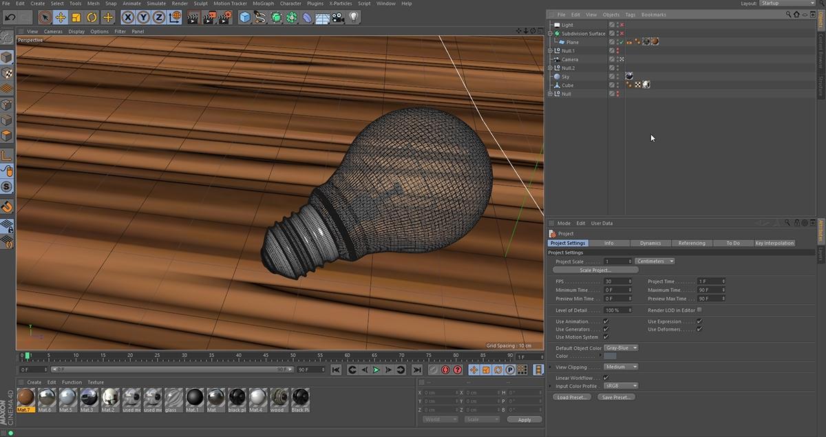 cinema 4d realistic lamp Render