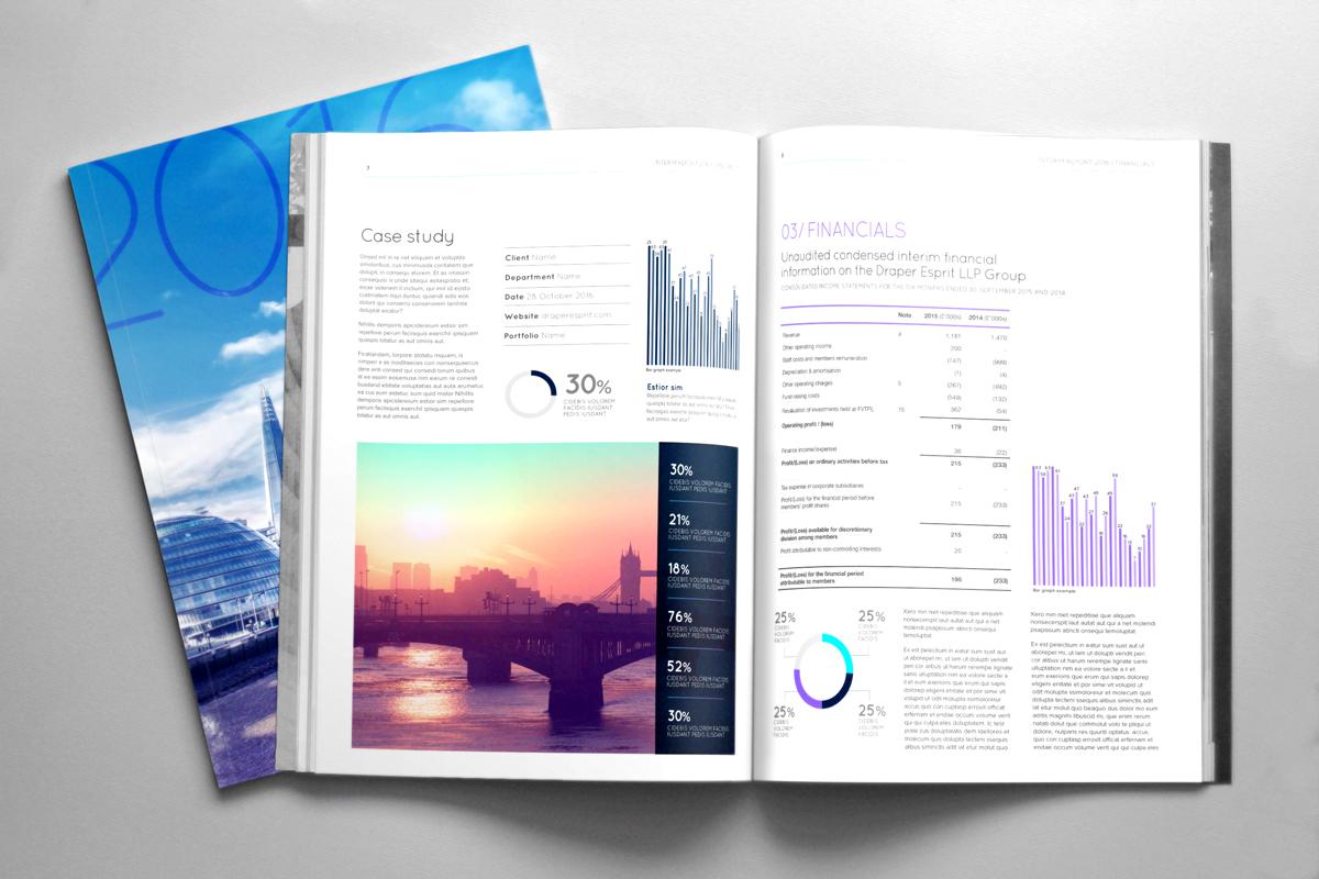 financial report annual report design template publication London publication design Graphs finance interim report report