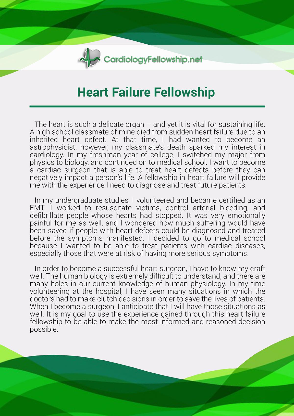 Heart Failure Fellowship Personal Statement Sample on