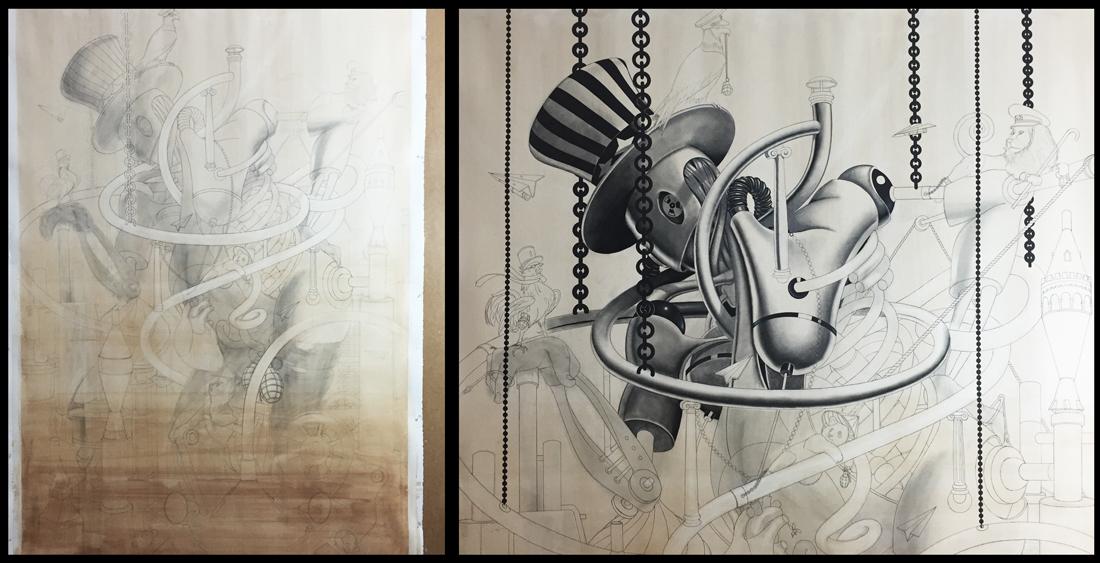 scarecrow Drawing  Warmongers intricate LARGE DRAWING dark Samuel Gomez war profiteers