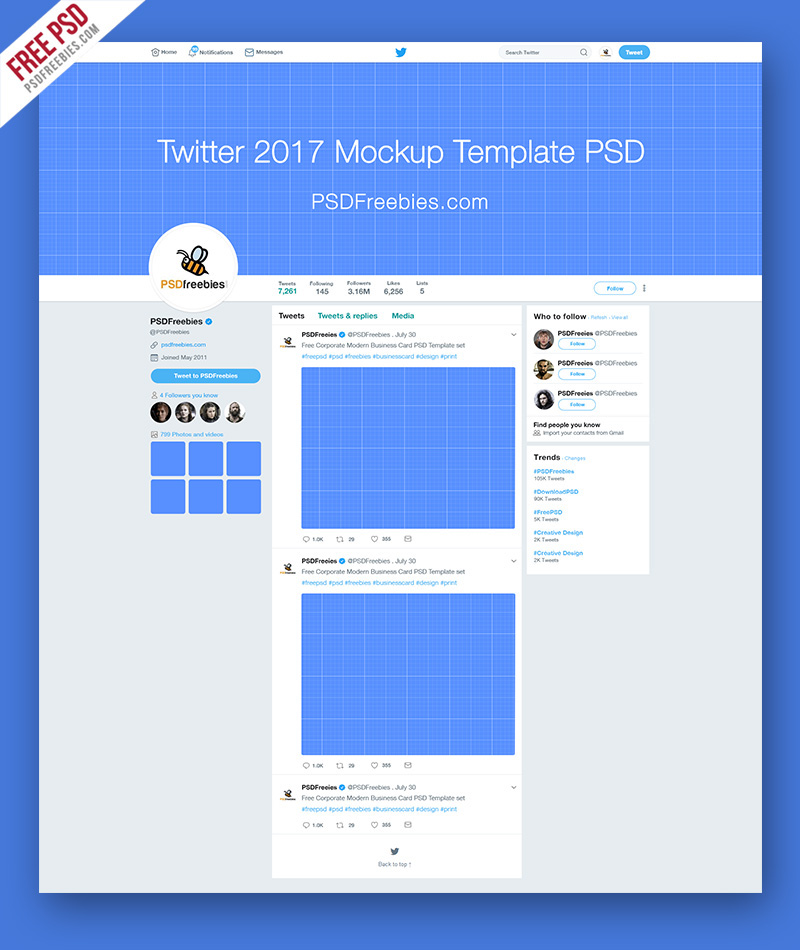 twitter page mockup 2017 template free psd on behance