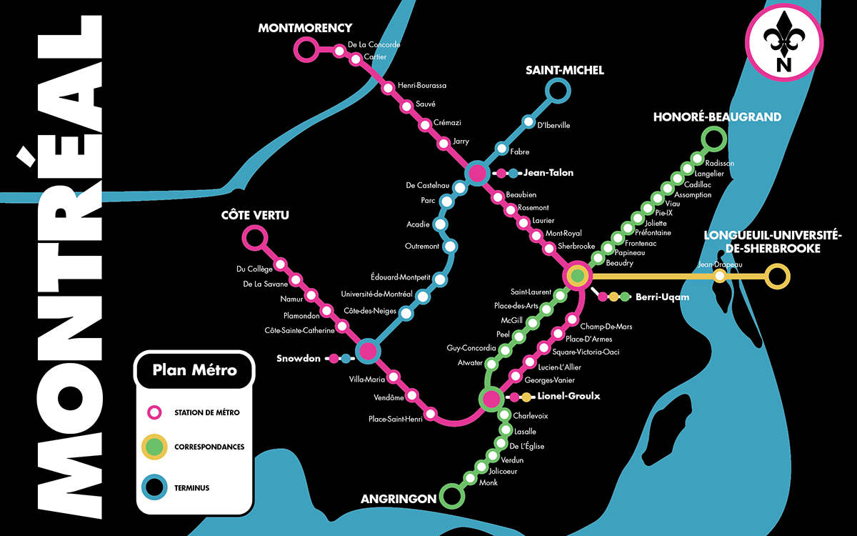 Montreal Subway Map.Montreal Metro Map On Behance