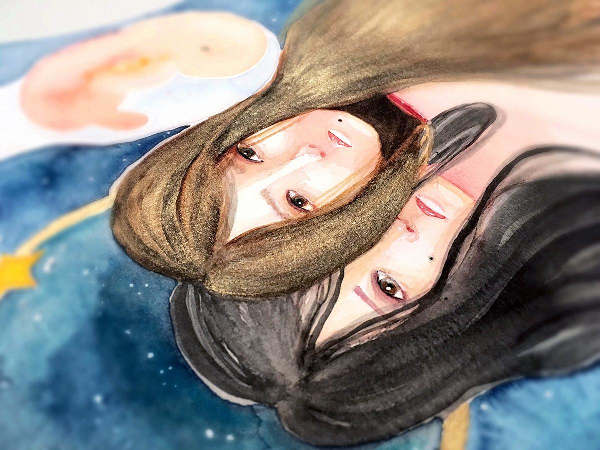 watercolor tijuana mexico ILLUSTRATION  gold family women stephanymarlen3 sister