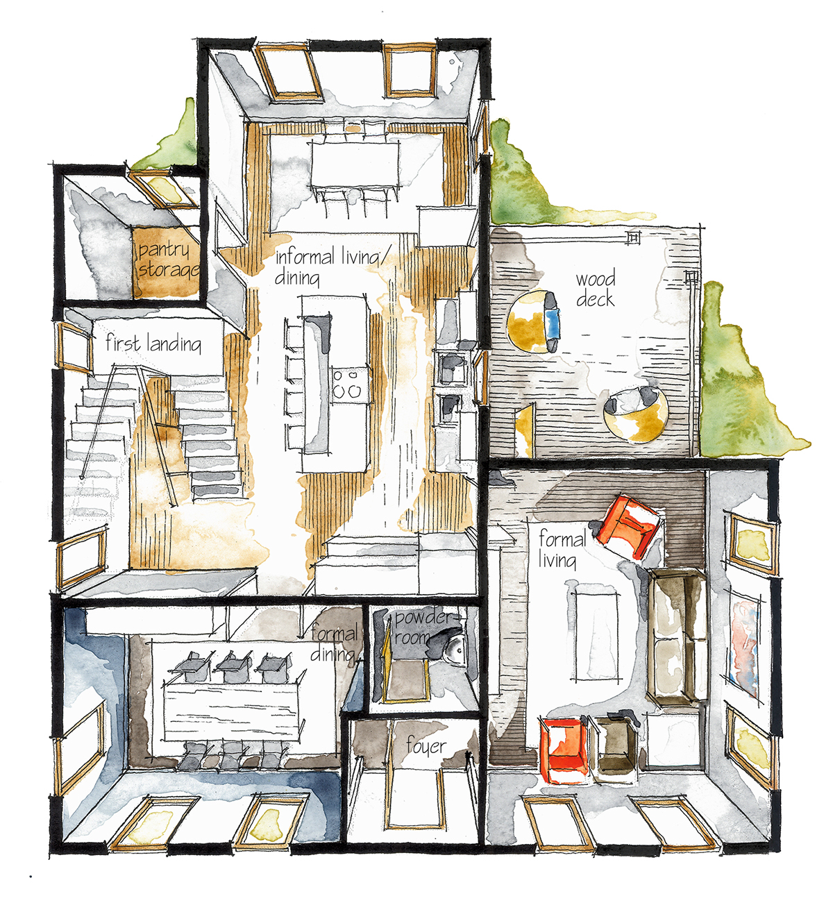 Real estate watercolor 3d floor plan i on behance for House drawing plan layout