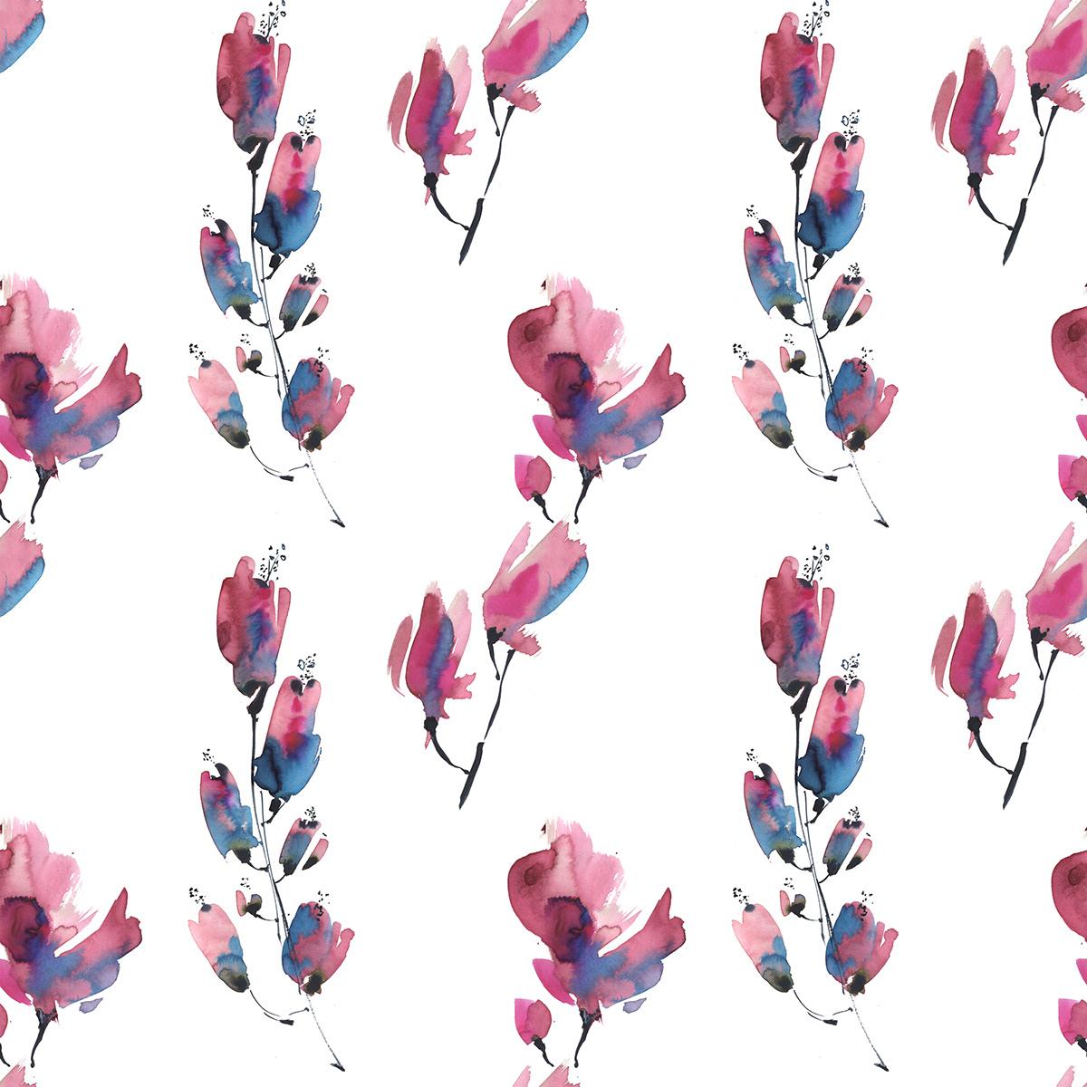 botanical Flowers graphic art Patterns print red watercolor графика принт цветы