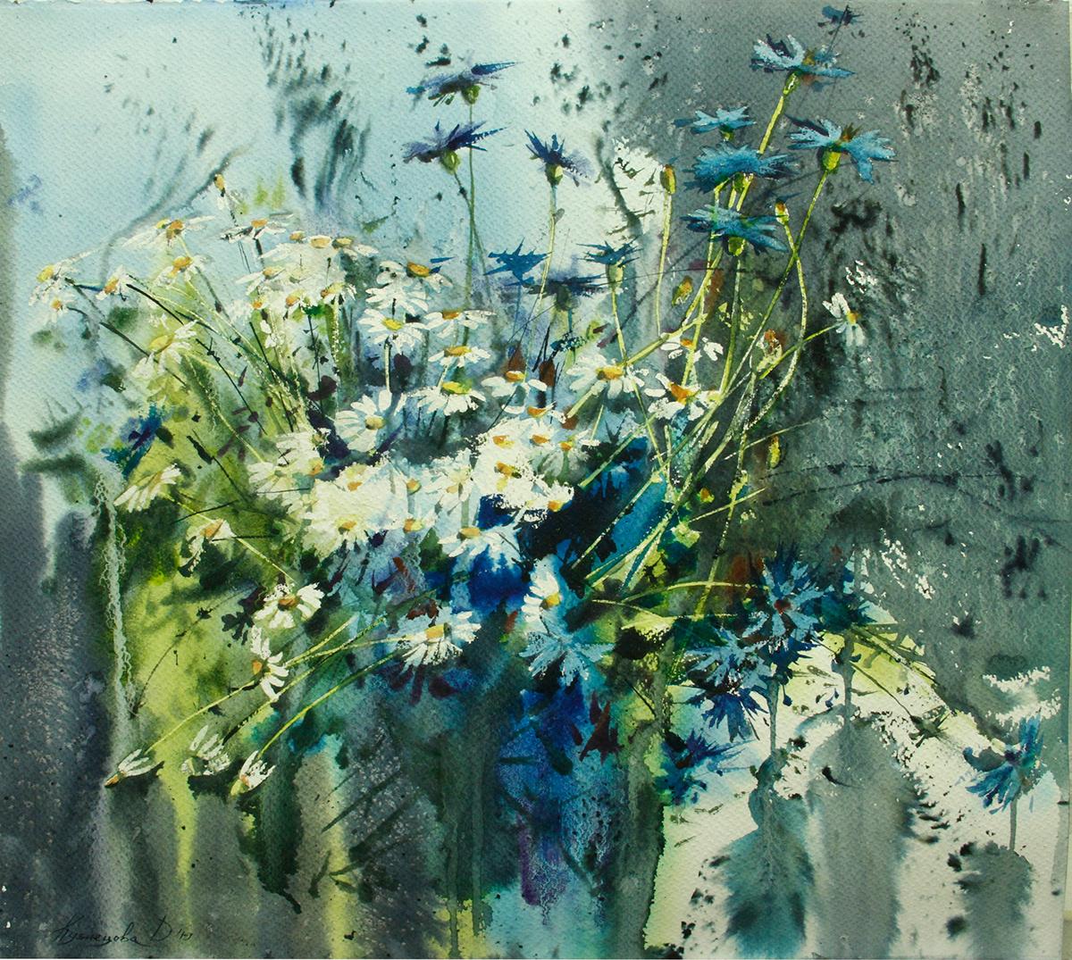 chamomile Flowers graphic art impressionism watercolor Wildflowers акварель графика импрессионизм цветы