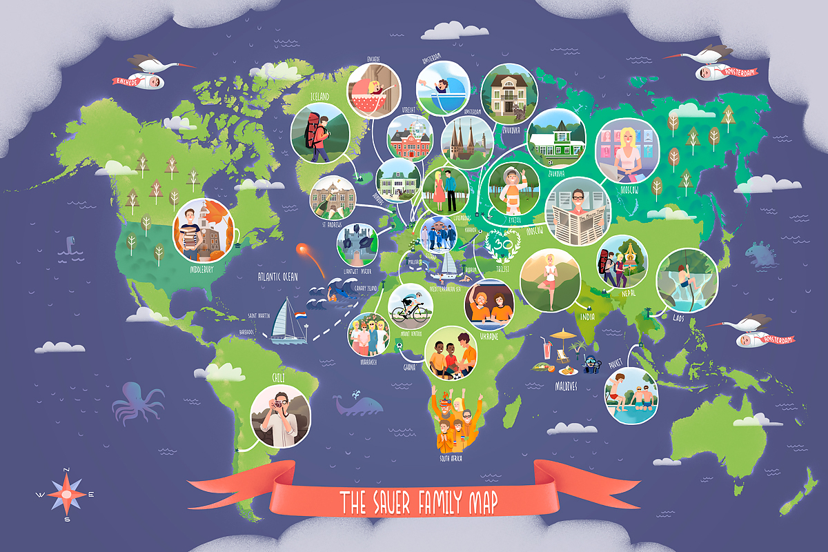 family travel map on behance