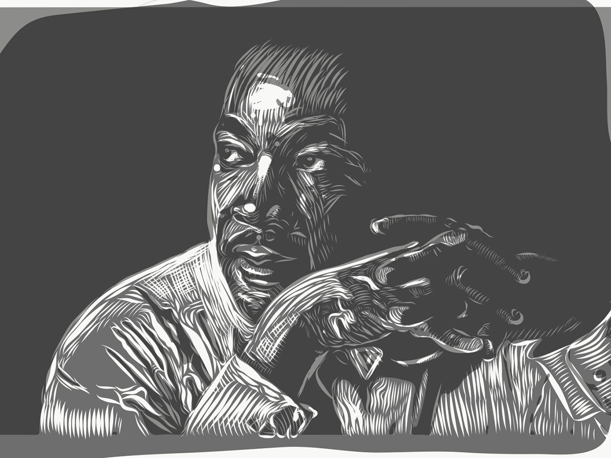 adobedraw vector MLK Martin Luther King Civil Rights woodcut MakeItonMobile portrait black history month