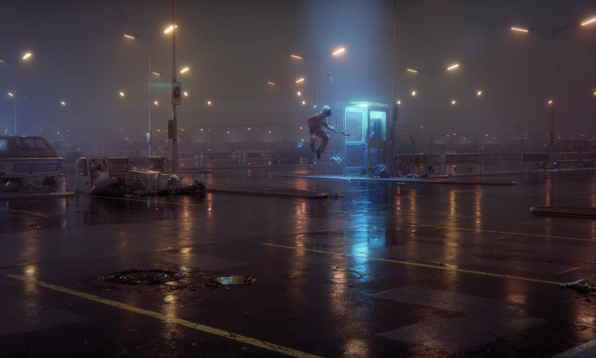 Space  astronaut CGI 3D Cornelius parkinglot 52Hz eimer cinema 4d
