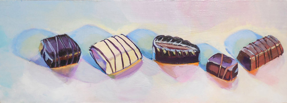 Row of chocolate bonbons, Acrylic painting, Product illustration by Zoe Zuniga