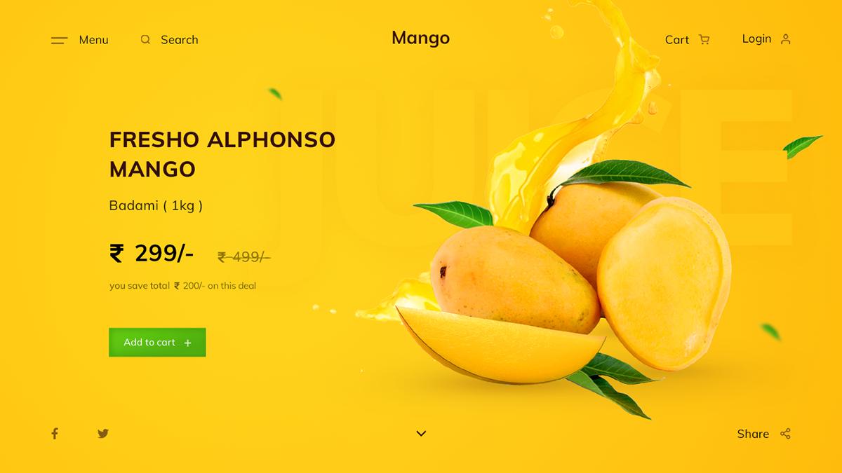 Clean UI design designer fruit ui Logo Designs Mango minimal ui ui design UX design Web Design