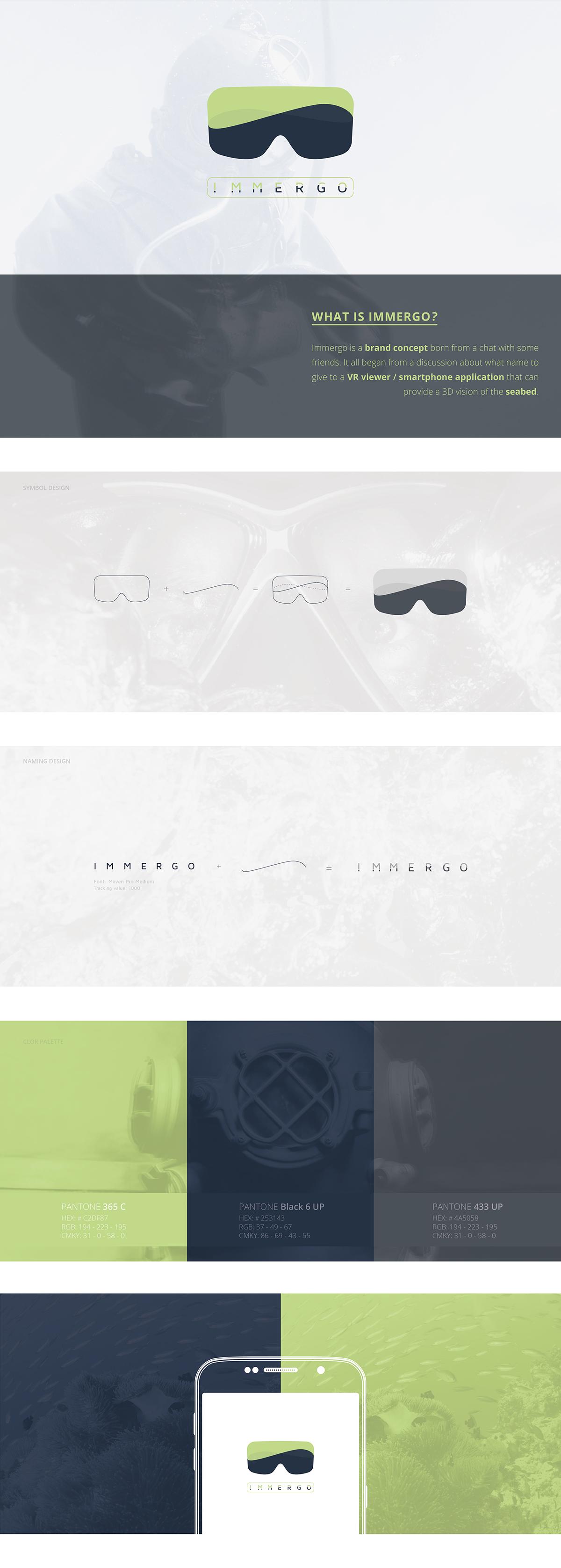 brand logo vr mask underwater 3D cardboard app application seabed