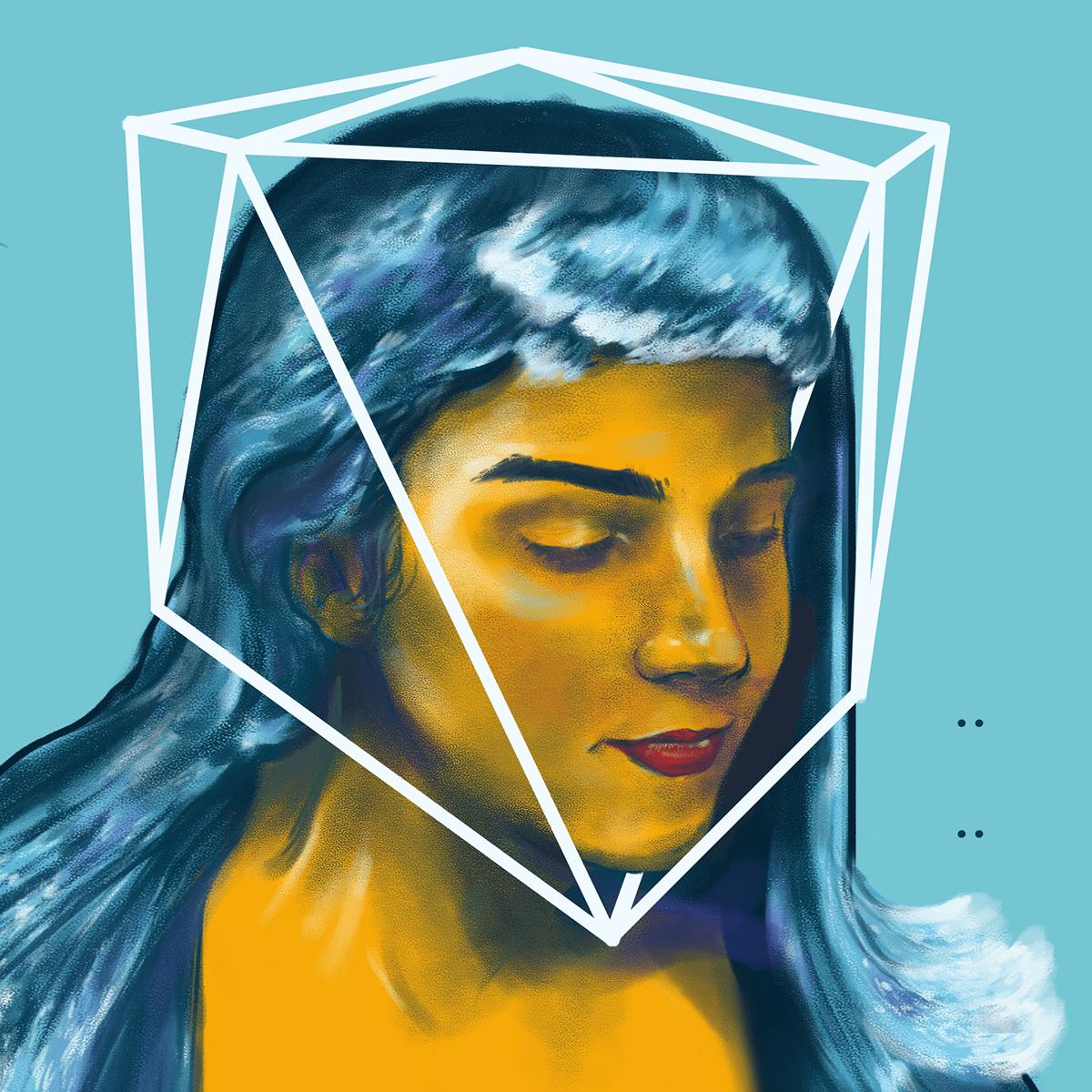 agua elements Human Figure painting   portrait retrato woman Woman figure