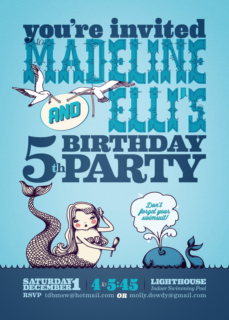 Jenkin Hammond - Mermaid Birthday Party Invitation