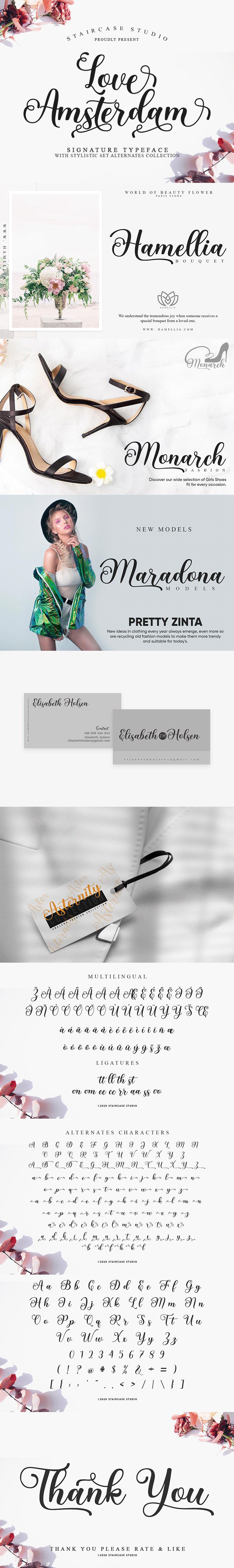 branding  decorative fonts Logotype love amsterdam Script signature Typeface