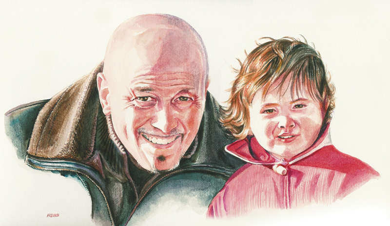 Portrait of father and child in watercolours