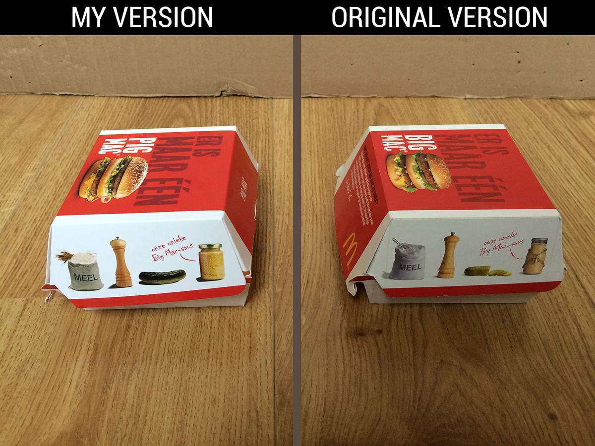 School Project Mc Donald's box photoshop InDesign Illustrator graphic design