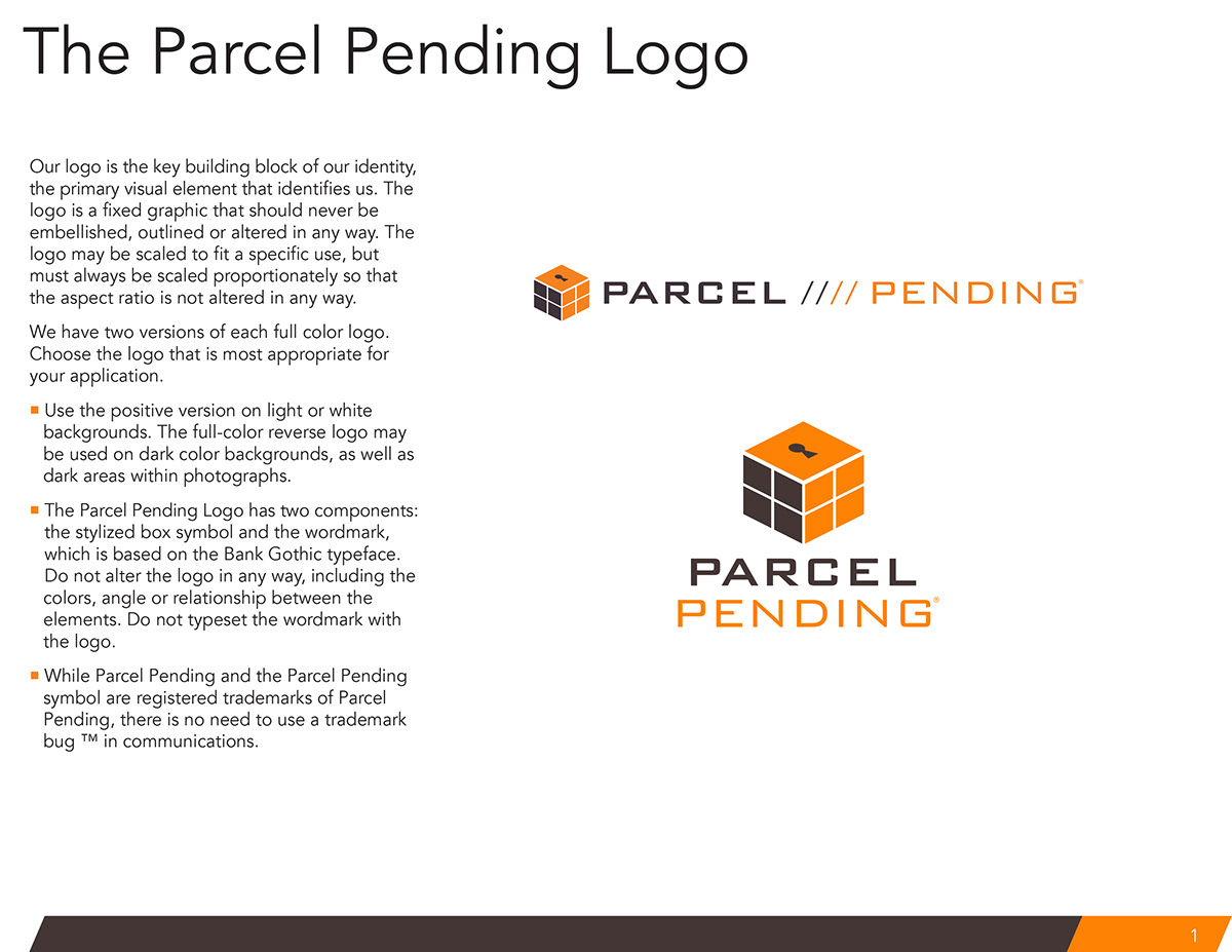 Brand style guide (PARCEL PENDING) on Behance