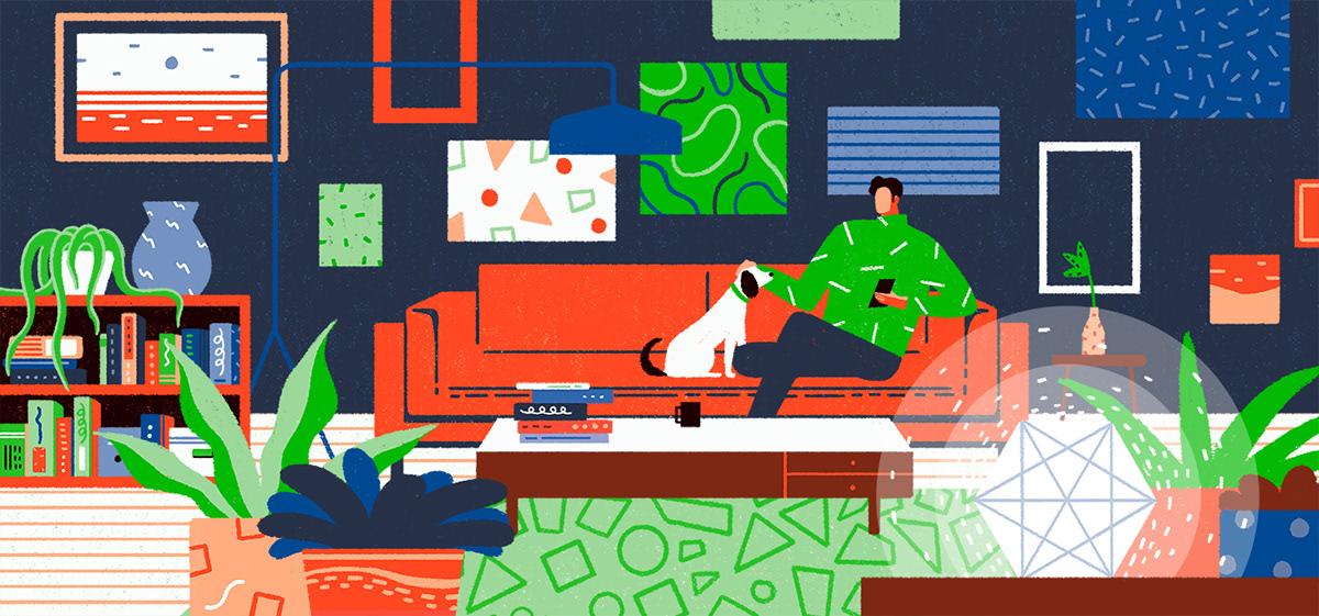 pattern 2DAnimation motion geometric phone smarthome dog line Technology home