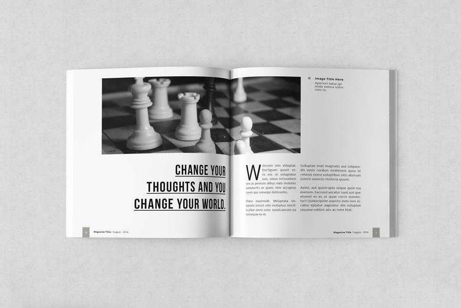 InDesign magazine template Multipurpose clean simple minimal square magazine clean layout creative