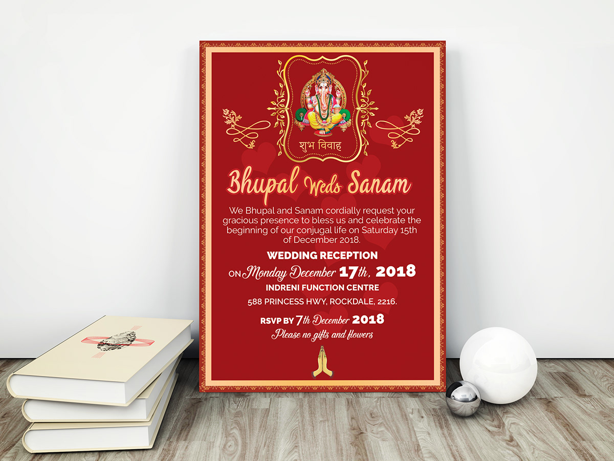 Rsvp Wedding Invitation Card Template Indian Style On