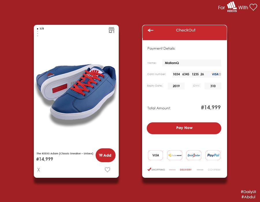 shoe app mobile checkout