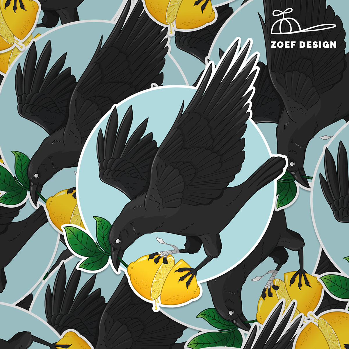 adobe illustrator,crow,ILLUSTRATION ,lemon