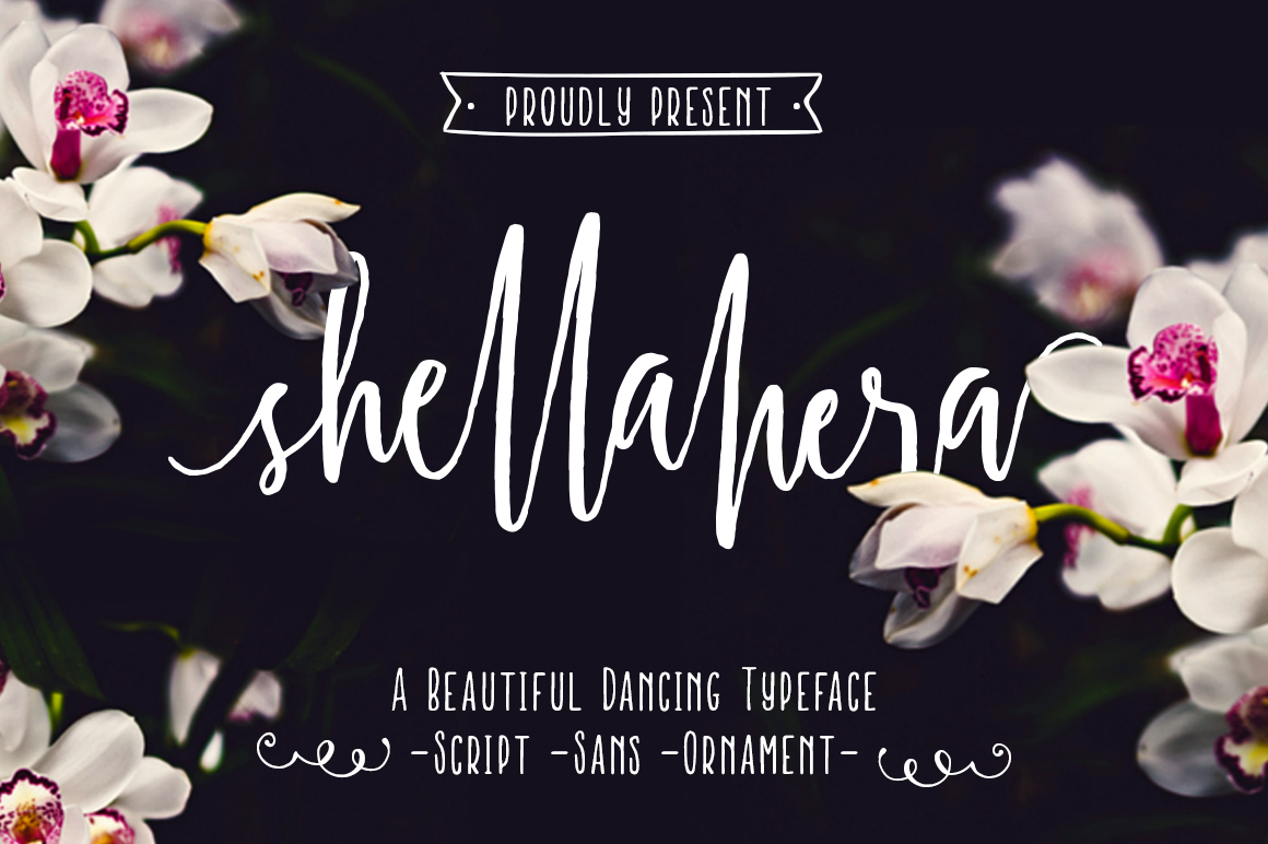 shellahera font family Script open type features wedding font brush Marker paint handwritten Hand Lettered Swashes PUA contextual alternates logo
