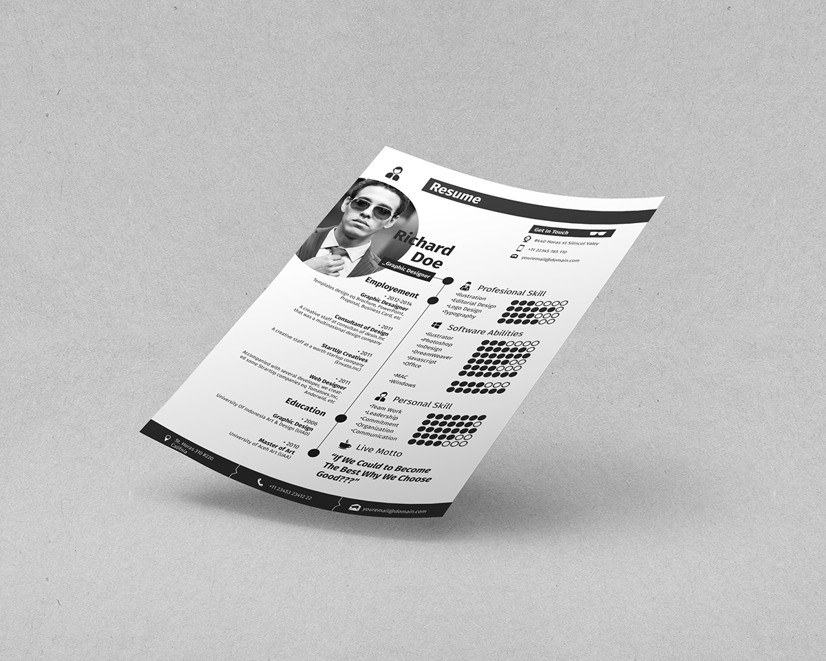 free template Resume freetemplate clean profesional design graphic Behance simple printtemplate BizzDistrict