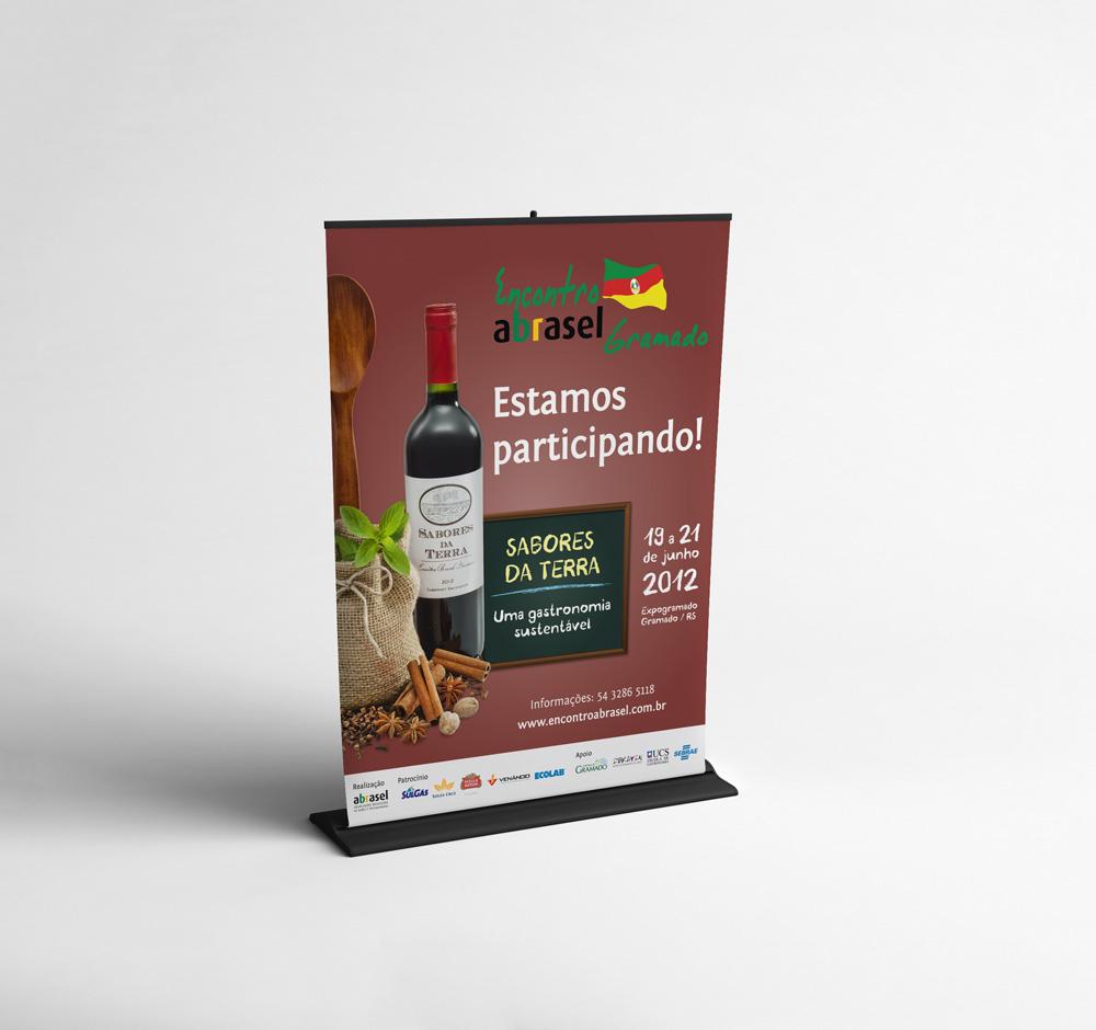 banner Livro editorial Abrasel crachá Display Hiperdesign design material gráfico book