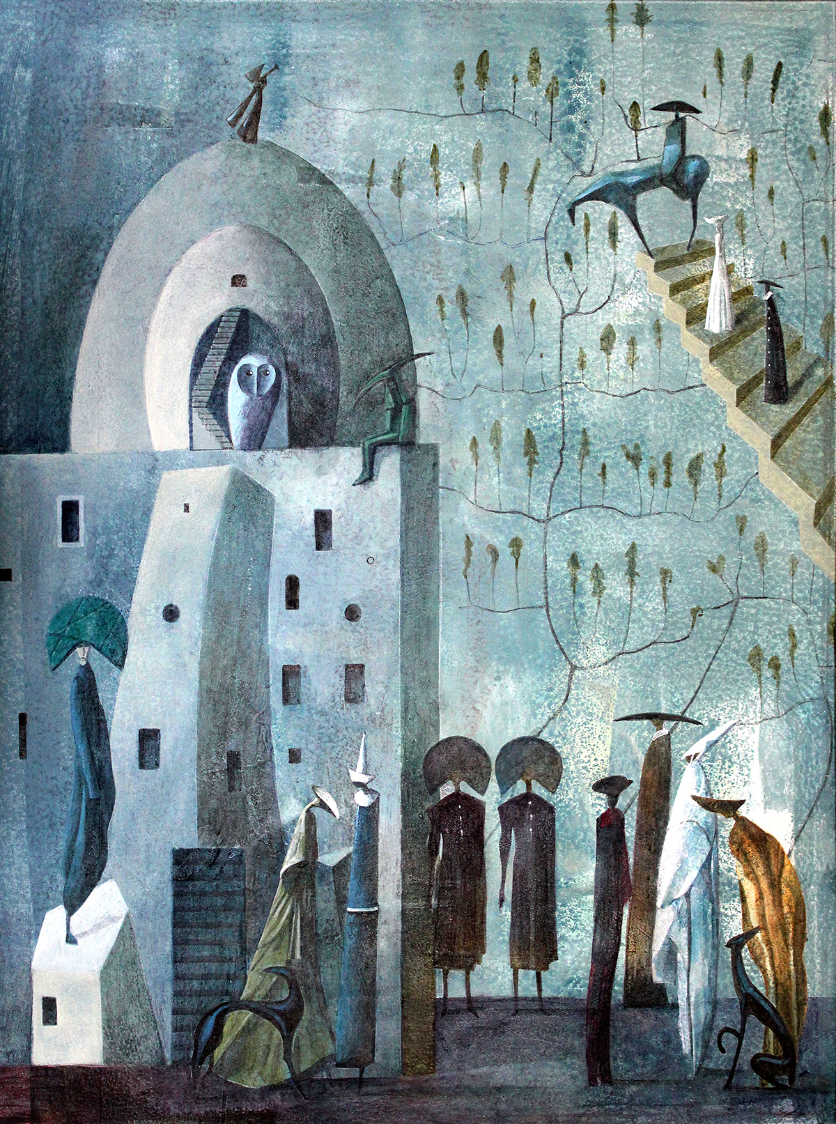 acrylic fantasy palace painting   characters fairytale