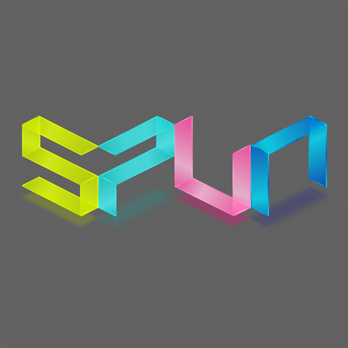 Isometric Perspective logo pink turqouise Spun