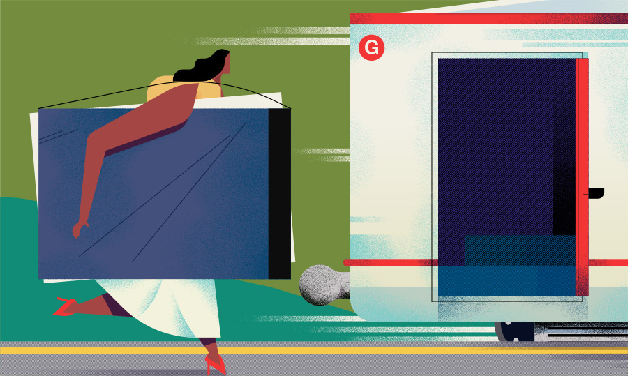 adam avery illustration the guardian university guide woman running for train