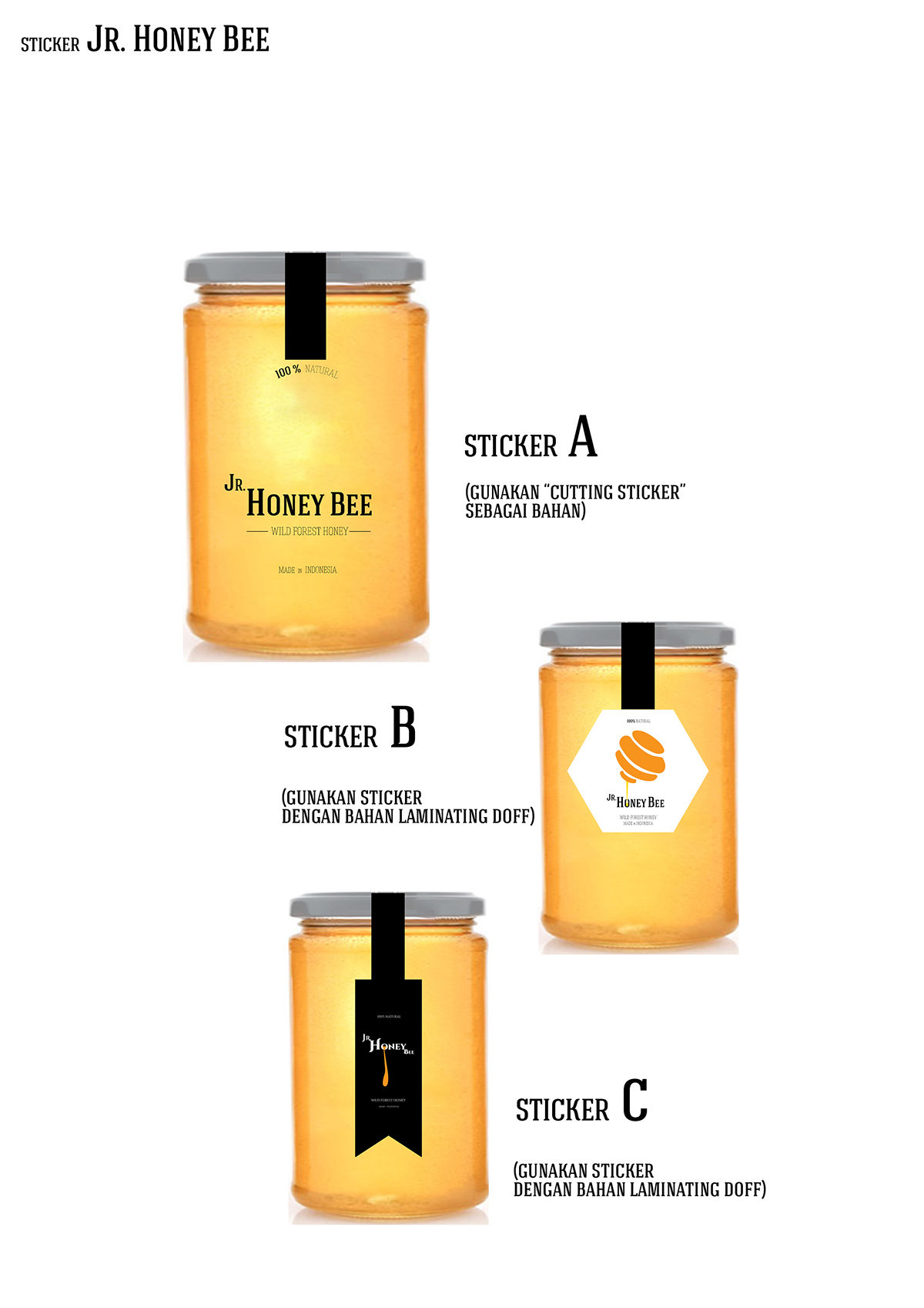 Jr Honey Bee Logo And Sticker Packaging On Behance 100 Made In Indonesia