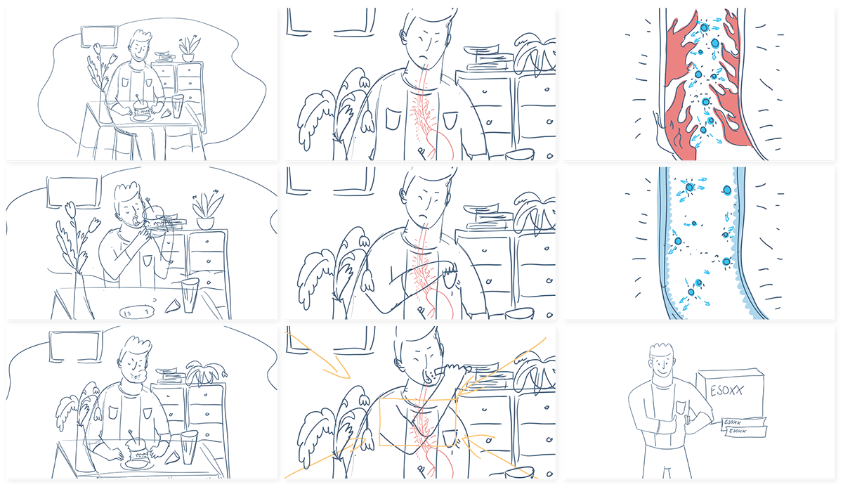 2D Animation advert advertising for medicine chest cut out hamburger heartburn medicine pharmaceutical advert stomack illnes