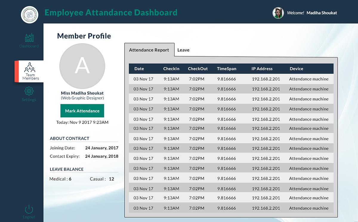 employee attendance system on wacom gallery