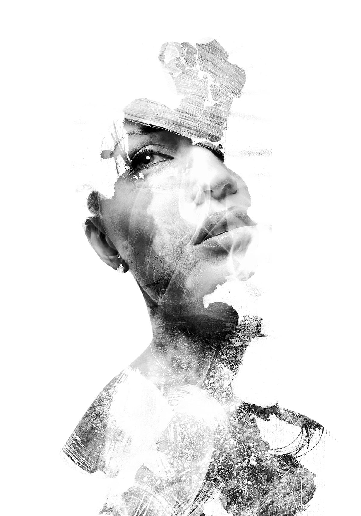 portrait woman beauty black/white colors watercolors double exposure multiple exposure Emi Haze emi haze art