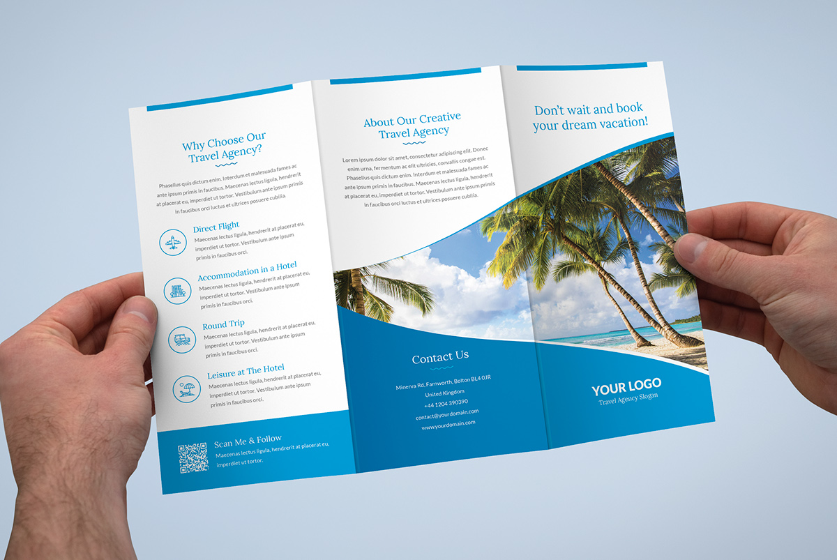 Brochure Travel Agency Tri Fold Template On Pantone Canvas Gallery