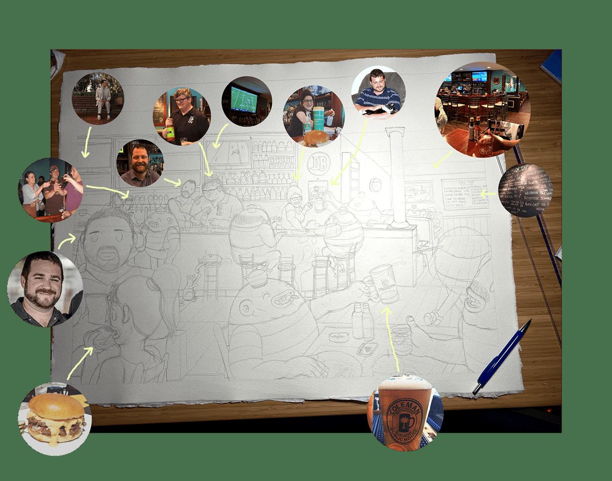 artwork bar Character coleman Drawing  Dreyk the Pirate restaurant Street Art  dotwork