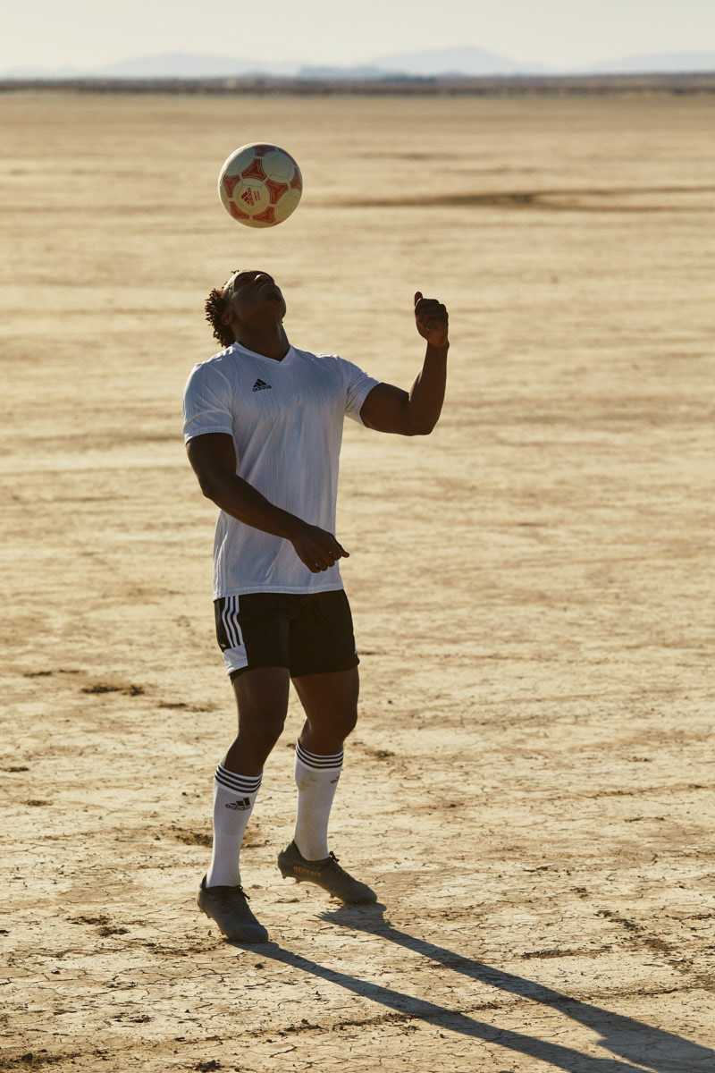 adidas soccer football workout athlete desert portrait sweat action commercial