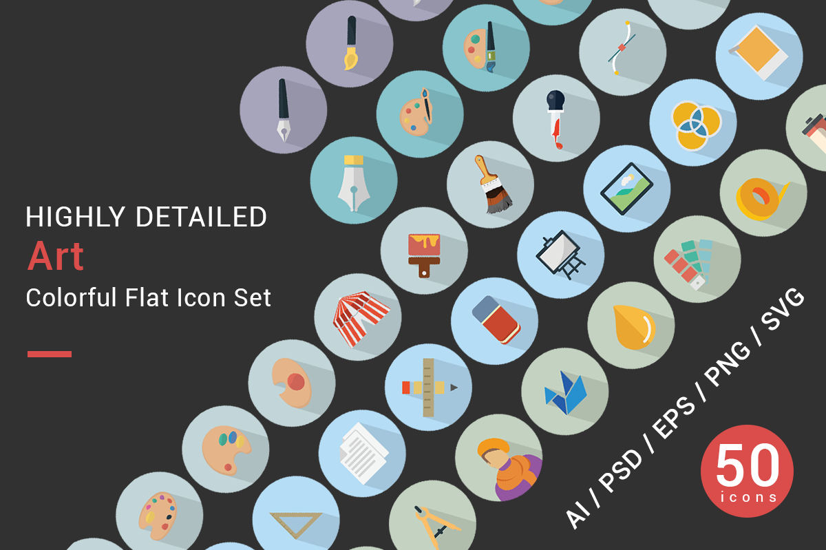 ARTS flat icons vector