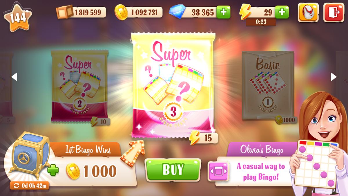 bingo mobile game user interface