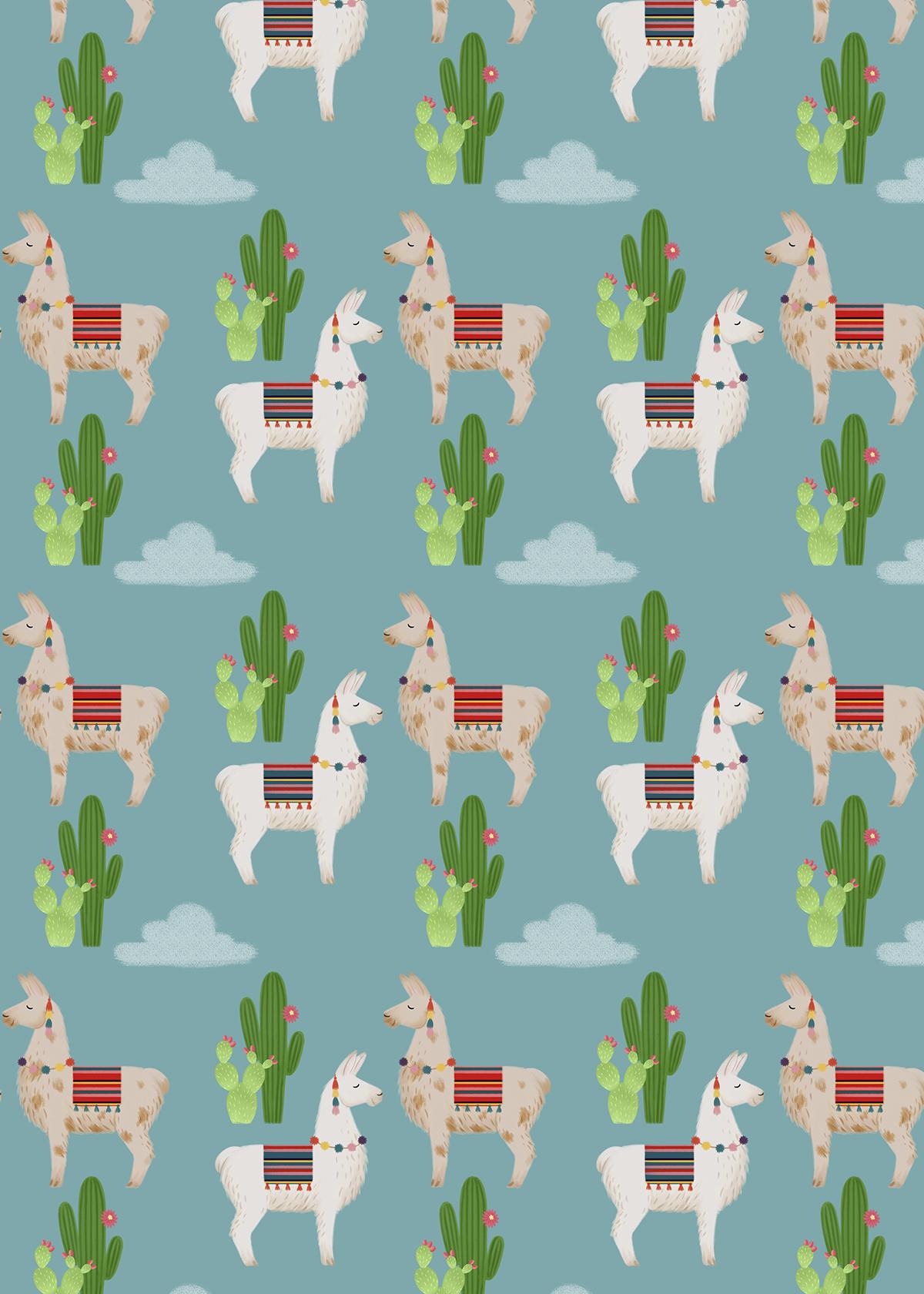 llama alpaca pattern surface cactus cacti cute animal ILLUSTRATION  clouds
